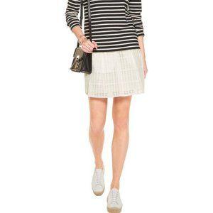 Vince Optic White Gauzy Plaid Textured Mini Skirt